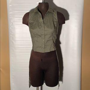 Bebe women's Kara Poplin mixed fabric top/Size M